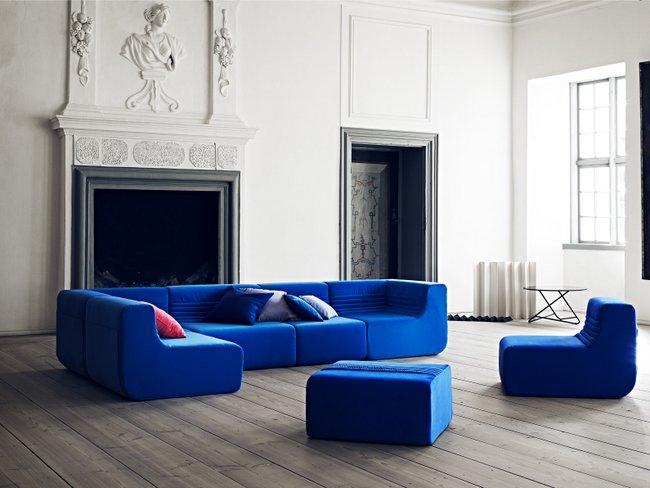 Softline blaue Sitzlandschaft mit Sesseln