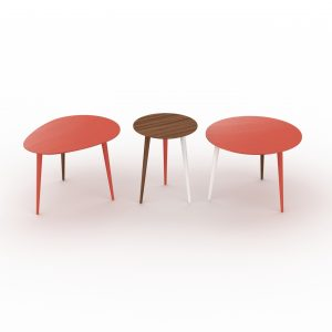 ECLYPSE 3 er Set in Nussbaum, Coral Rot und Weiss MYCS   by Andy - for better moods   Trend Living Coral