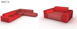 PYLLOW Sofa in Coral Living-mycs   by Andy - for better moods  Trend Living Coral